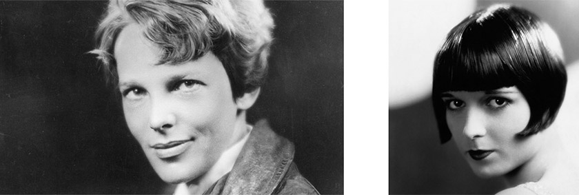 Amelia Earhart and Louise Brooks 1920s bob haircuts