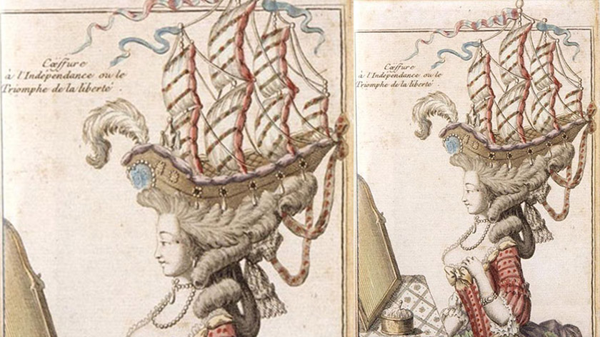 Models were often added to the Pouf. Marie Antoinette wore a ship to celebrate a naval battle