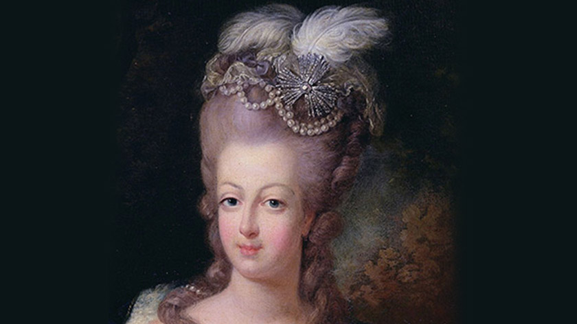 A relatively sedate early example of the Pouf worn by Marie Antoinette