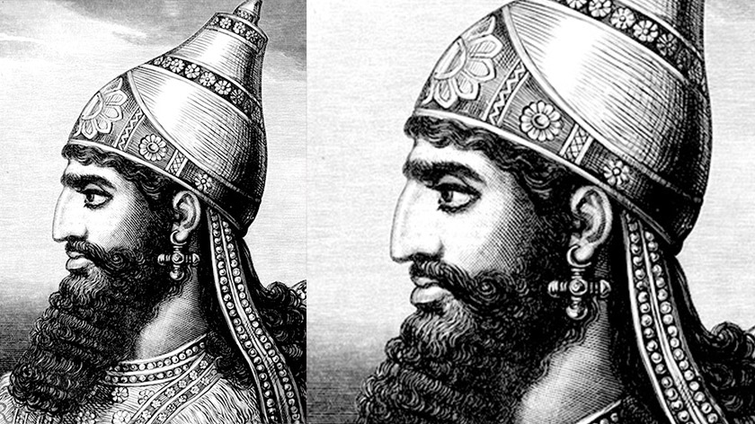 The Assyrian's wore hats, but underneath they had curly hair. Probably.