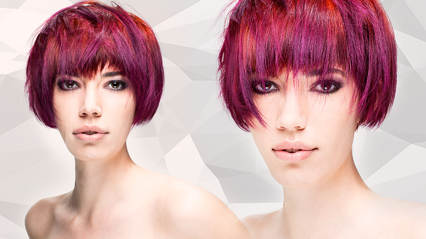 Bastian Casaretto & Claus Hagenhoff demonstrate a graduated haircut and asymmetric block colour. Stunning: