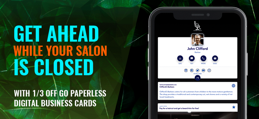 Get Ahead While Your Salon is Closed With 1/3 Off Go Paperless Digital Business Cards